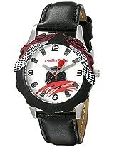 Red Balloon Kids' W000345 Speed Racing Tween Stainless Steel Printed Bezel Black Leather Strap Watch