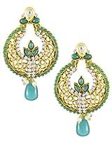 Karatcart 22K Goldplated Green Stone Dangle Earrings for Women.