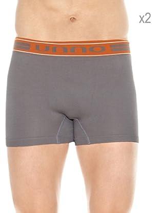 Unno Pack x 2 Boxers (Gris / Naranja)