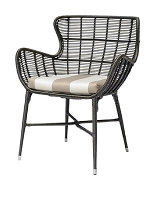 Palecek Palermo Outdoor Chair, Beige/Ivorystripe/Espresso