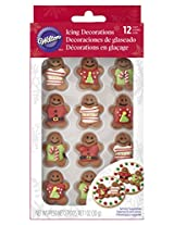Wilton 710-1172 12 Count Christmas Gingerbread Men with Sweaters Royal Icing Decorations