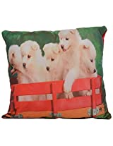 Twisha White Puppies Printed Pillow 12 X 12 X 4 Inch