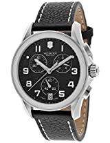 Men'S Victorinox Chronograph Black Dial Black Leather (241501)