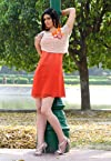 Orange Faux Chiffon and Cotton Net Readymade Dress