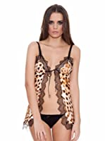 Roberto Cavalli Intimo Top Estampado Leopardo / Blonda (Negro / Marrón)