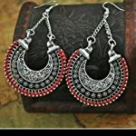 Red Oxidized Silver Oxidised Silver Traditional Dangle & Drop Earring