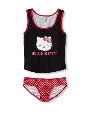 Hello Kitty Girl's 7-16 Iconic Tankini Set (Black)