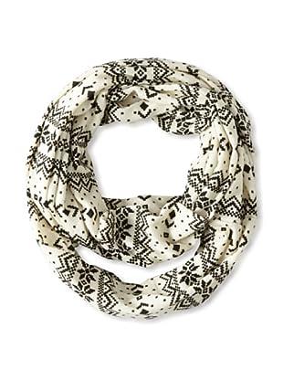 Isaac Mizrahi Women's Printed Knit Infinity Scarf, White, One Size