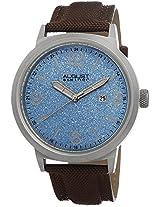 August Steiner Men's AS8088BU Blue Dial Stainless Steel Brown Canvas Strap Watch