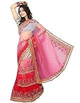 Red Embroidery Lehenga Saree Inddus