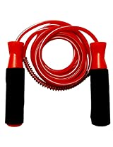 Premium Quality Standard Jumping Skipping Rope with Comfortable Foam Grip (Red)