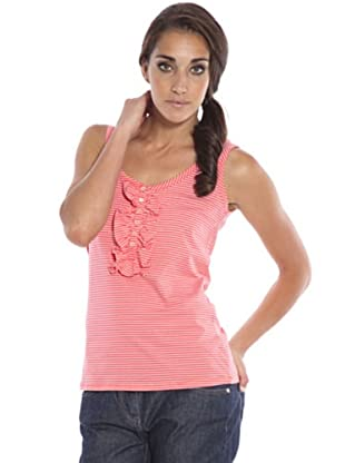 PEDRO DEL HIERRO Camiseta Volante (Coral / Blanco)