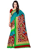 Silk Bazar Women's Tassar Silk Saree with Blouse Piece (Maroon & Blue)