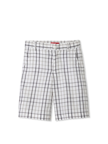 One Kid Boy's Checkered Shorts (Silver Check)