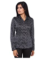 Mallika Women's Micro Fiber Regular Fit Shirt (STMWPR_2XL, Black and White, X-Large)