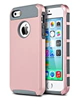 ULAK SK426920 Hybrid Case for iPhone 5 and iPhone 5S (Gold/Grey)