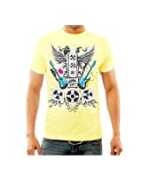 Funktees Men's Round Neck T-Shirt Yellow Large