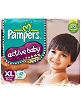 Pampers Active Baby Diapers Extra Large 32 Pieces (Over 12 kg)