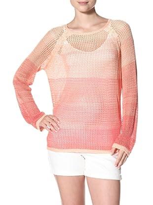 525 America Women's Tri Color Ombre Mesh Top (Coral Combo)