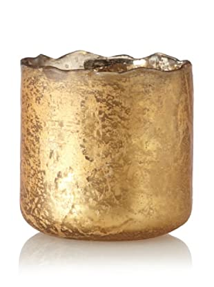 Antique Foil Finish Uneven Rim Glass Votive, Gold