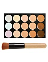 FiveBull Professional 15 Color Concealer Camouflage Contour Eye Face Cream Makeup Palette with Cosmetics Make up Brushes (15 Color)