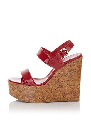 "Sergio Rossi Women's 5"" Patent Cork Sandal (Red)"