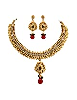 Unicorn's Traditional Gold Plated Ethnic Necklace Set with Earrings - UETMPL07PR