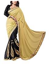 Rajlaxmi Women's Georgette Saree (Chiku)