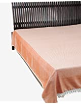 "Cotton Woven Allana Bed Cover-94""X 104""-Natural/Coral"