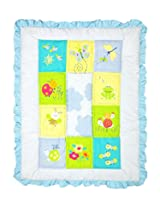 Baby quilt multi color with Joy print