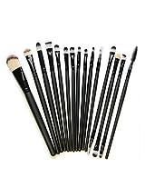 Kolight 15pcs Cosmetic Makeup Brushes Set Powder Foundation Eyeshadow Eyeliner Lip Brushes For Beautiful Female (Black)