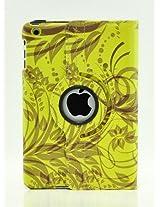 LiViTech(TM) Modern Art Flower Design Series 360 Degree Rotating PU Leather Case Cover for Apple iPad Air, iPad Mini with Retina and iPad 2 3 4 (iPad 2 3 4, Green)