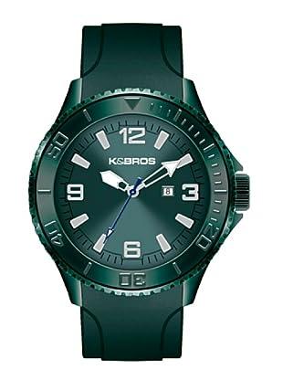 K&BROS 9563-3 / Reloj de Caballero  con correa de caucho Verde