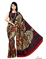 Art Silk Printed Saree In Beige and Maroon Colour
