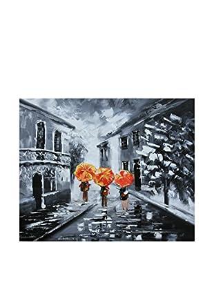 Legendarte Pintura al Óleo sobre Linezo A Spasso Quando Piove