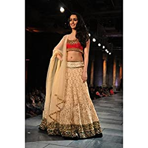 Bollywood Replica Shraddha Kapoor Net and Raw Silk Lehenga In Cream and Pink Colour 268