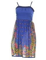 Pure Nautanki Women's Cotton Square Neck Dress (SK-8980_M, Blue, M)