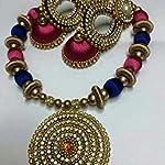 Silk thread necklaces and leaf jumka