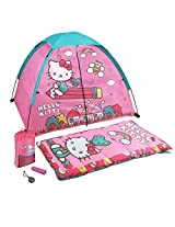 Hello Kitty 5 Piece Explorer Kit Camping Play Set For Kids Indoor / Outdoor Play Tent, Sleeping Bag, Sling Bag, Flashlight & Compass