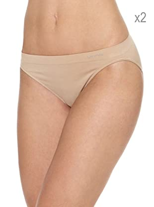 Unno Pack x 2 Braguitas Bikini Sin Costuras Microfibra (Nude)