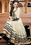 Cream designer embroidered anarkali suit