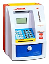 """Exciting New """"PIGLOO"""" Brand Toy ATM Bank for Children - With Realistic Functions - Save Coins and Paper Money - Card Password - Sounds and Lights (Random Colors)"""