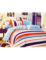 CnS MULTI COLOUR STRIPE BEDSHEET WITH PILLOW COVERS, KING SIZE , 100% COTTON