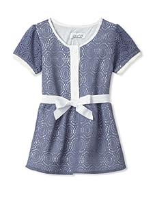 Journal Girl's Crochet Button-Up Dress (Slate)