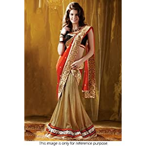 Bollywood Style Model Georgette and Dhupion Saree In Golden Colour NC405
