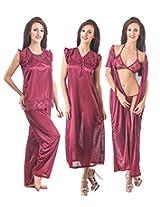Fasense Womens Satin Nightwear ,Magenta ,Free Size