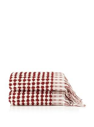Pure Fiber Set of 2 Bubble Hand Towels (Cranberry)