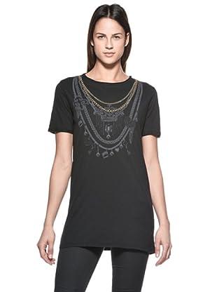 Crema Camiseta Print Collares (Negro)