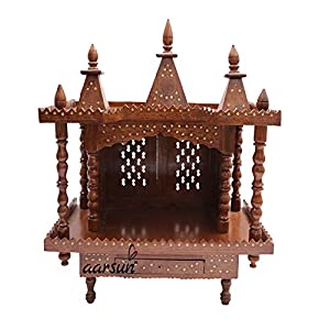Aarsun Wooden Temple for Home in Seasoned Sheesham Wood