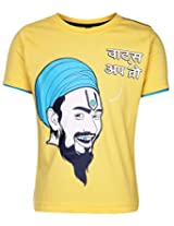 Ollypop T-Shirt Half Sleeves With Whats Up Bro Print In Hindi - Yellow